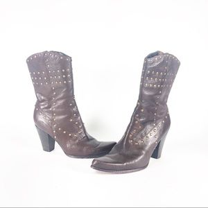 Steven studded mid calf heel boots leather